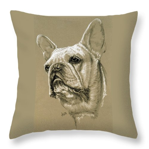Dog Throw Pillow featuring the drawing French Bulldog by Barbara Keith