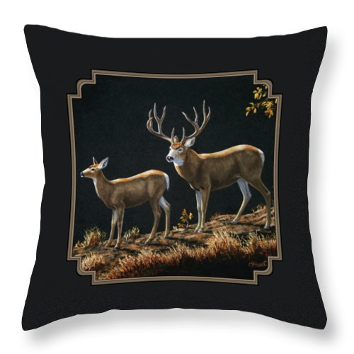 Deer Throw Pillow featuring the painting Mule Deer Ridge by Crista Forest
