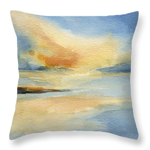 Seascape Throw Pillow featuring the painting Cape Cod Sunset Seascape Painting by Beverly Brown