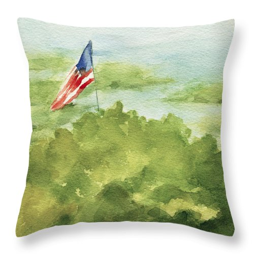 Coastal Throw Pillow featuring the painting Cape Cod Beach with American Flag Painting by Beverly Brown
