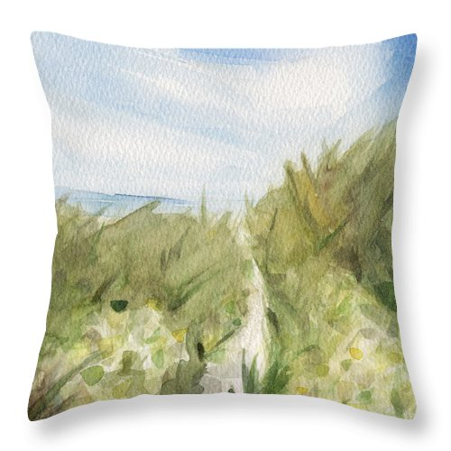 Coastal Throw Pillow featuring the painting Footpath through Dunes Cape Cod Beach Painting by Beverly Brown