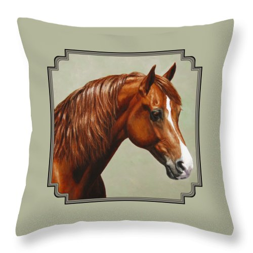 Horse Throw Pillow featuring the painting Morgan Horse - Flame by Crista Forest