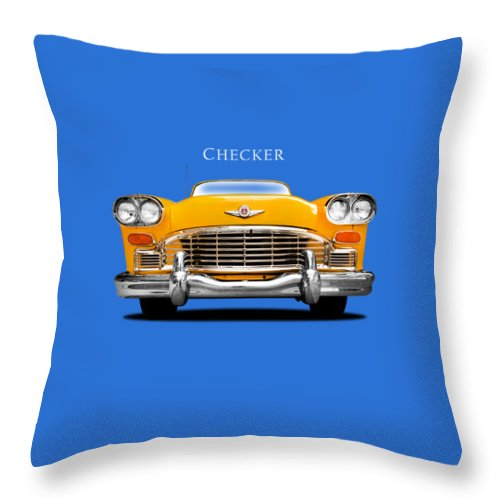 Checker Cab Throw Pillow featuring the photograph Checker Cab by Mark Rogan