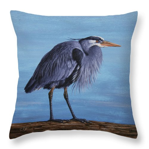 Bird Throw Pillow featuring the painting Great Blue Heron by Crista Forest