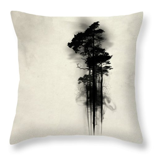 Forest Throw Pillow featuring the painting Enchanted Forest by Nicklas Gustafsson