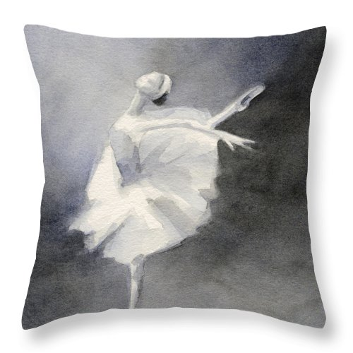Ballet Throw Pillow featuring the painting Watercolor Ballerina Painting by Beverly Brown