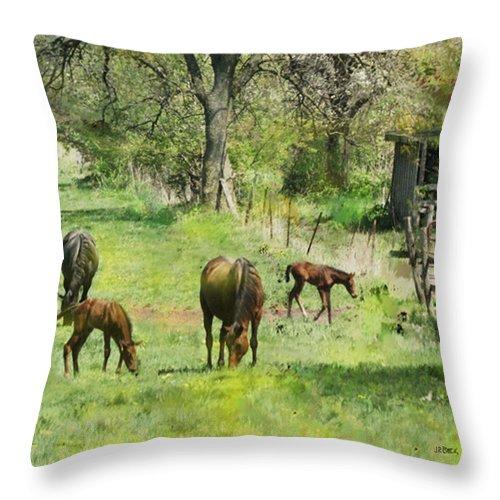 Spring Colts Throw Pillow featuring the digital art Spring Colts by John Robert Beck