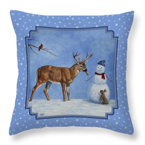 Deer Throw Pillow featuring the painting Whose Carrot Seasons Greeting by Crista Forest