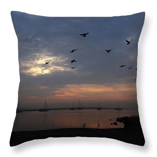 Coastal Throw Pillow featuring the photograph As Dawn Breaks by Karol Livote