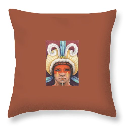 Indian Throw Pillow featuring the drawing As My Ancestors by Amy S Turner