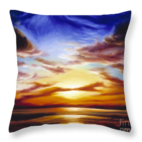 Skyscape Throw Pillow featuring the painting As The Sun Sets by James Christopher Hill