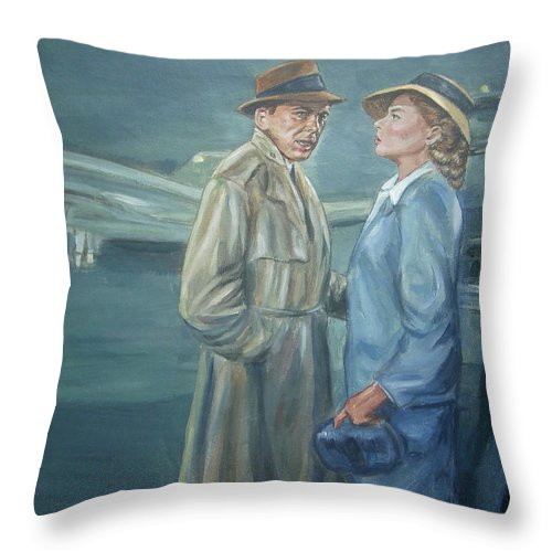 Casablanca Throw Pillow featuring the painting As Time Goes By by Bryan Bustard