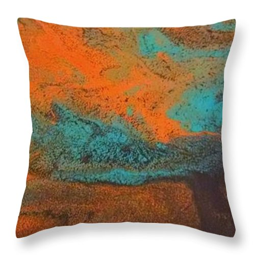 Throw Pillow featuring the painting As Water Flows by Barbra Kotovich