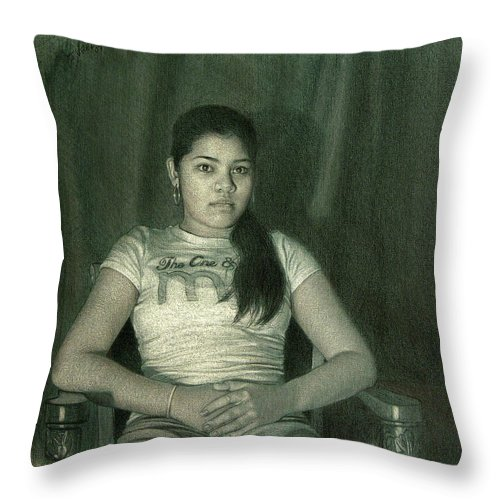 Figure Throw Pillow featuring the drawing Ash by Joe Velez