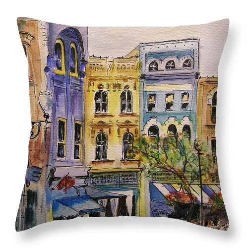 Townhouses Throw Pillow featuring the painting Asheville by Lizzy Forrester