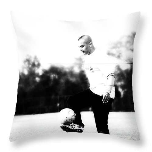Soccer Throw Pillow featuring the photograph Ashish Soccef by Kendall Tabor