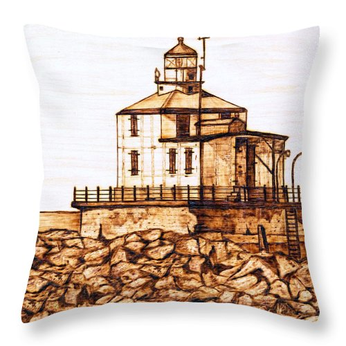 Lighthouse Throw Pillow featuring the pyrography Ashtabula Harbor by Danette Smith