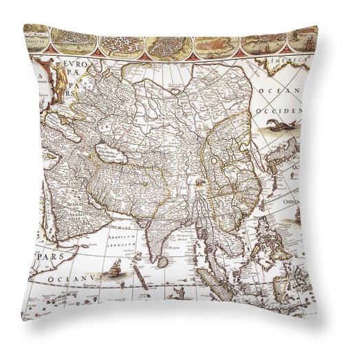 1618 Throw Pillow featuring the photograph Asia: Map, C1618 by Granger