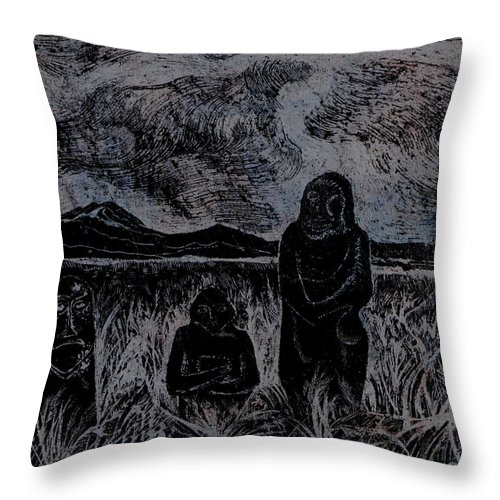 Graphica Throw Pillow featuring the drawing Asia.gone With The Wind by Anna Duyunova