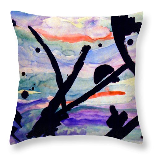Abstract Throw Pillow featuring the painting Asian Impression by Steve Karol