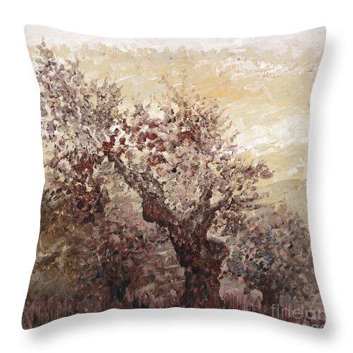 Landscape Throw Pillow featuring the painting Asian Mist by Nadine Rippelmeyer