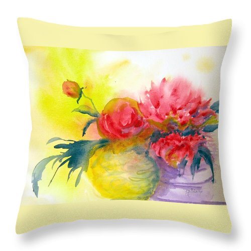 Peony Throw Pillow featuring the painting Asian Peonies by Marilyn Bishop