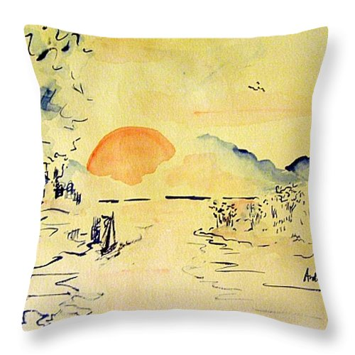 Asia Throw Pillow featuring the painting Asian Sunrise by Andrew Gillette