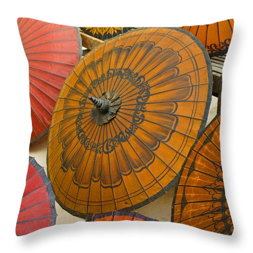 Oriental Throw Pillow featuring the photograph Asian Umbrellas by Michele Burgess