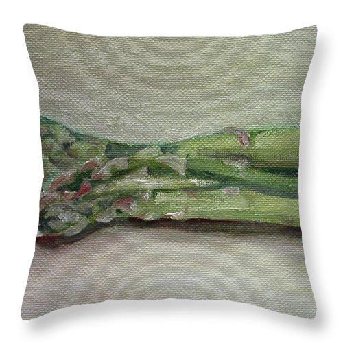 Food Throw Pillow featuring the painting Asparagus by Sarah Lynch