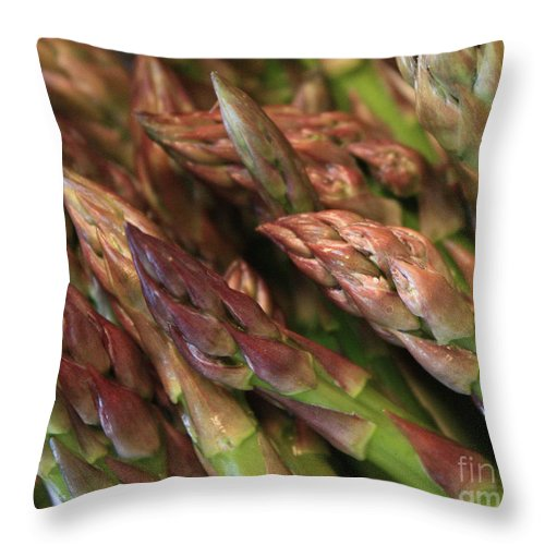 Asparagus Throw Pillow featuring the photograph Asparagus Tips by Carol Groenen