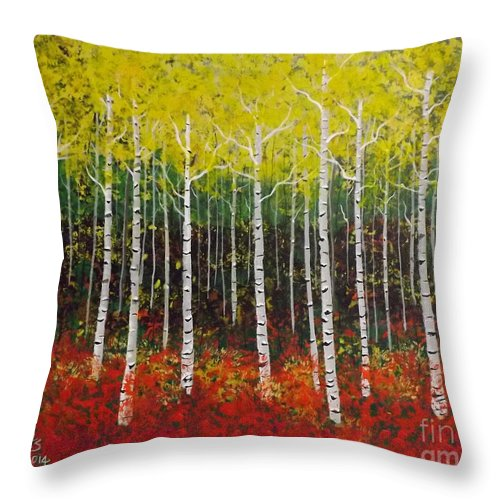 Landscape Aspen Throw Pillow featuring the painting Aspen Bright by Lettie Hoots
