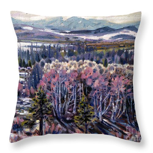 Aspen Throw Pillow featuring the painting Aspen In April by Donald Maier