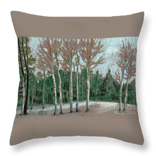 Aspens Throw Pillow featuring the drawing Aspen In The Snow by Donald Maier