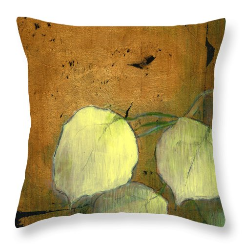 Oil Throw Pillow featuring the painting Aspen Leaves by Patt Nicol