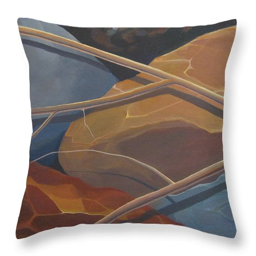 Branch Throw Pillow featuring the painting Aspen Rain Branch2 by Hunter Jay