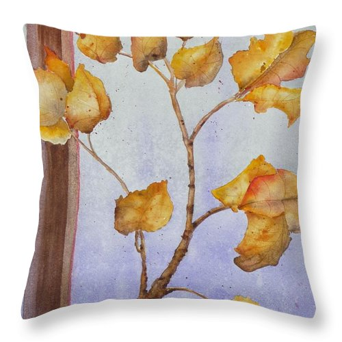 Leaves Throw Pillow featuring the painting Aspen by Ruth Kamenev