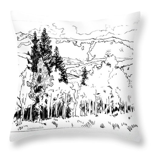 Aspens Throw Pillow featuring the drawing Aspens Against the Evergreens by John Lautermilch