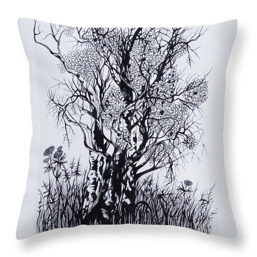 Ink And Pen Throw Pillow featuring the drawing Aspens by Anna Duyunova