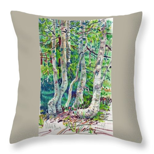 Aspens Throw Pillow featuring the drawing Aspens by Donald Maier