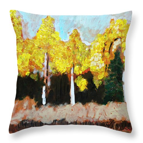 Fall Throw Pillow featuring the painting Aspens by Kurt Hausmann