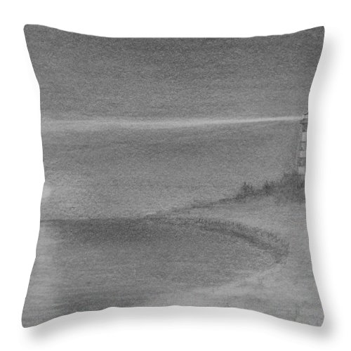 Lighthouse Throw Pillow featuring the drawing Assateague Light At Night by Vic Delnore