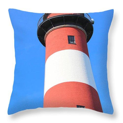 Assateague Throw Pillow featuring the photograph Assateague Lighthouse Abstract by JB Stran