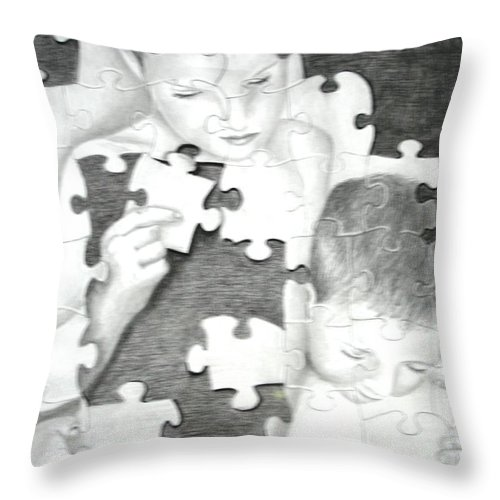 Brothers Throw Pillow featuring the drawing Assembly Required by Melissa Wiater Chaney