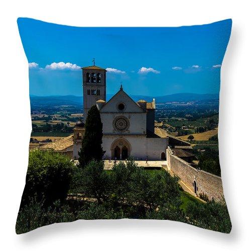 Landcsape Throw Pillow featuring the photograph Assisi-basilica Di San Francesco by Cesare Bargiggia