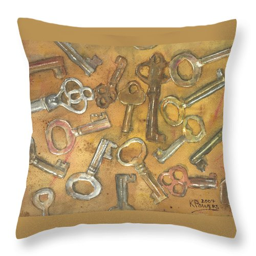 Skeleton Throw Pillow featuring the painting Assorted Skeleton Keys by Ken Powers