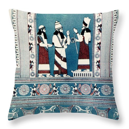 720 B.c. Throw Pillow featuring the photograph Assyrian King, C720 B.c by Granger