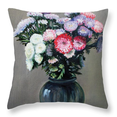 Flowers Throw Pillow featuring the painting Asters by Paul Walsh