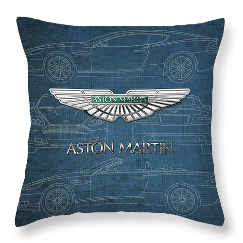 Wheels Of Fortune By Serge Averbukh Throw Pillow featuring the photograph Aston Martin 3 D Badge over Aston Martin D B 9 Blueprint by Serge Averbukh