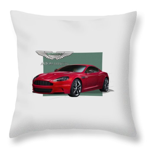 �aston Martin� By Serge Averbukh Throw Pillow featuring the photograph Aston Martin D B S V 12 with 3 D Badge by Serge Averbukh