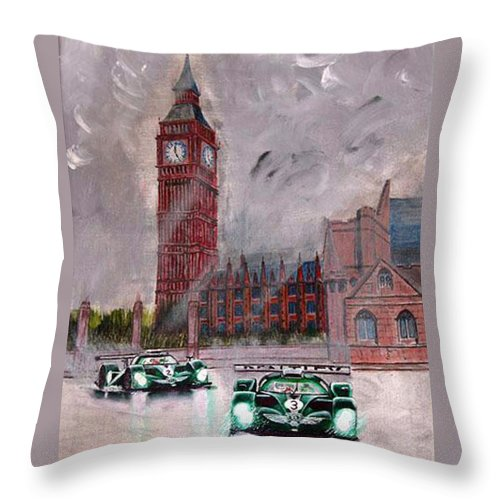 Aston Martin Throw Pillow featuring the painting Aston Martin Racing In London by Richard Le Page